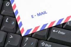 Keyboard and air mail envelop Stock Photo