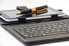 Keyboard for android in focus and the tablet  background Royalty Free Stock Photography