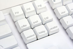 Keyboard Angle Office. A computer keyboard modified for office activities Royalty Free Stock Photo