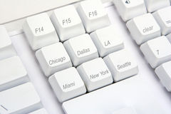 Keyboard Angle US. A modified keyboard with some US cities on the keys Royalty Free Stock Image