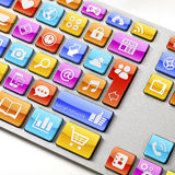 Keyboard with App icons on keys. High res shoot of a Keyboard with all of it's keys substituted by app icons related to internet browsing, Social Networking Stock Photo
