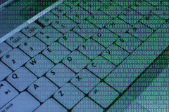 Keyboard with binary code Royalty Free Stock Photo