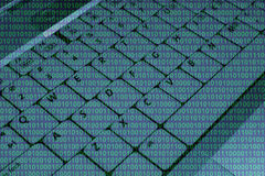 Keyboard with binary code Stock Image