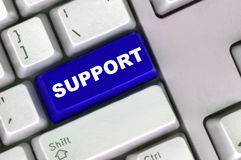 Keyboard with  blue button of support Stock Photography
