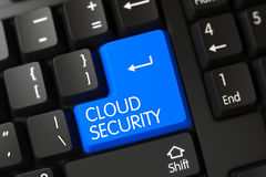 Keyboard with Blue Key - Cloud Security. 3D. Royalty Free Stock Image