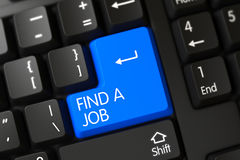Keyboard with Blue Key - Find A Job. 3D. Find A Job on Modern Laptop Keyboard Background. 3D Royalty Free Stock Photo