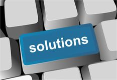 Keyboard - blue key Solutions Stock Photos