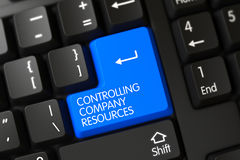 Keyboard with Blue Keypad - Controlling Company Resources. 3D. Royalty Free Stock Images