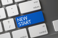 Keyboard with Blue Keypad - New Start. 3D. Royalty Free Stock Photos
