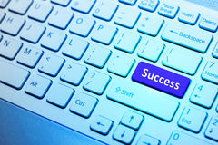 Keyboard with blue Success button, business concept Royalty Free Stock Photo
