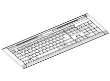Keyboard blueprint– 3D perspective Royalty Free Stock Images