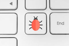 Keyboard button with a bug Stock Images