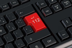 112 keyboard button. 112 concept on keyboard red button stock illustration