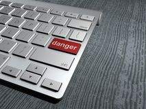 Keyboard button, danger on the web Royalty Free Stock Photo