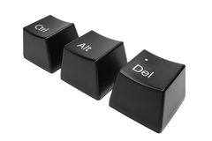 Keyboard buttons Ctrl, Alt, Del  isolated Royalty Free Stock Photos