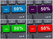Keyboard buttons with 50% discount Royalty Free Stock Image