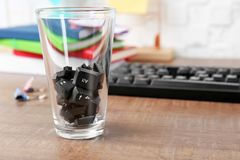 Keyboard buttons in glass on office table royalty free stock photos