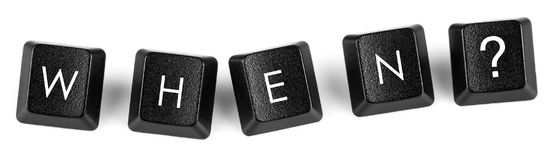 `When?` keyboard buttons. Words created with computer keyboard buttons on white background stock photo