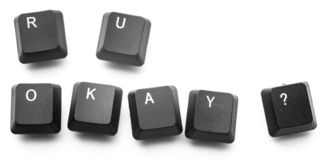 Keyboard buttons write ` are you okay?`. Isolate on white background stock photography