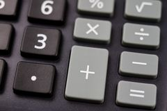The keyboard of the calculator on a larger scale. Buttons with m. Athematical markings and numbers. Dark background royalty free stock photos