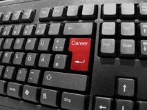 Keyboard - career. Black keyboard with red key career Royalty Free Stock Images