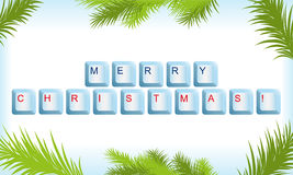 Keyboard with Christmas tree frame Royalty Free Stock Image