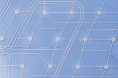 Keyboard circuit membrane. Blue toned, close up royalty free stock photos