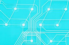 Keyboard circuit membrane. Blue toned, close up royalty free stock images