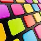 Keyboard close-up to empty copyspace keys. Black keyboard close-up to empty copyspace rainbow colored colorful glossy keys Royalty Free Stock Photography