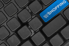 Keyboard close up,top view, shopping online concept word Stock Images