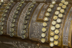 Keyboard closeup of an Antique cash register. Royalty Free Stock Image