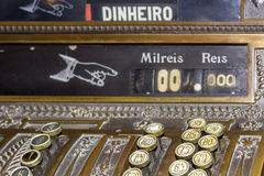 Keyboard closeup of an Antique cash register. Stock Photo