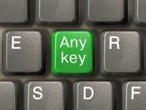 Keyboard (closeup) with Any key. (green Stock Photo