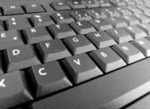 Keyboard closeup black big letters qwertz royalty free stock images