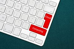 Keyboard with cloud computing words. Business concept. Computer keyboard with word cloud computing. Cloud computing text on a key on a computer keyboard royalty free stock photography
