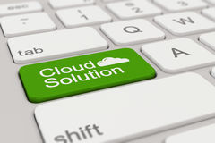 Keyboard - cloud solution - green Stock Photo