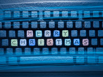 Keyboard colored keys with words Merry Christmas Stock Photography