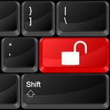 Computer button padlock open Royalty Free Stock Image