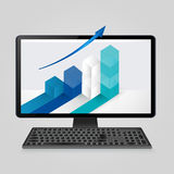 Keyboard and computer monitor with growing bar graph and arrow on screen. analysis business, finance, statistics concept Royalty Free Stock Photo
