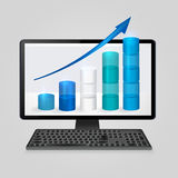 Keyboard and computer monitor with growing bar graph and arrow on screen. analysis business, finance, statistics concept Stock Photo