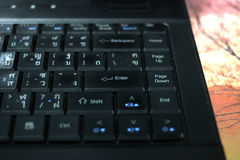 Keyboard computer notebook. Black color keyboard computer notebook Royalty Free Stock Photography