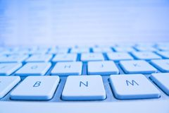 Keyboard of a computer screen in front Royalty Free Stock Photos