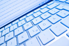 Keyboard of a computer screen in front of Royalty Free Stock Photography