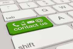 Keyboard - contact us - green Stock Photography