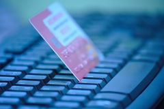 Keyboard and Credit Card Stock Image