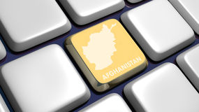 Keyboard (detail) with Afghanistan map key Royalty Free Stock Images
