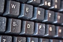 Keyboard with dew droplets Royalty Free Stock Images
