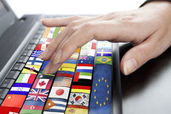 Keyboard with different lags countries Stock Photos