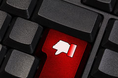 Keyboard with dislike symbol Stock Images