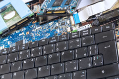 Keyboard and drives HDD with SSD Royalty Free Stock Photography